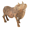 A rare large painted pottery model of an ox, Tang dynasty