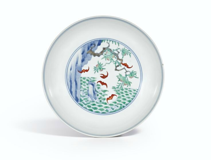 A rare doucai 'Five Bats' saucer dish, Mark and period of Yongzheng