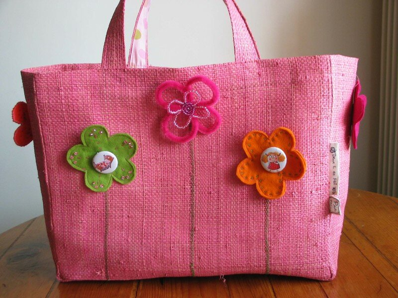 sac raphia rose b d'or