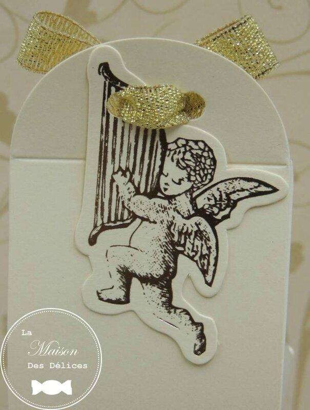 boîte dragées baptême mariage thème angelot gabriel cupidon ériquette ivoire doré