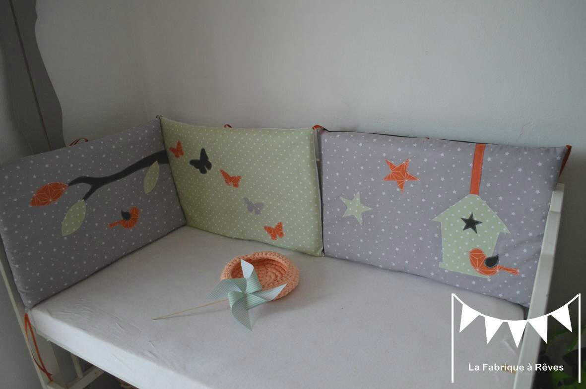 linge de lit enfant b b vert p le orange et gris. Black Bedroom Furniture Sets. Home Design Ideas