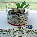 Verrine ponote, sur une ide du chef LB Puech ( lentilles du Puy, escargots, livche, mousse de chvre )