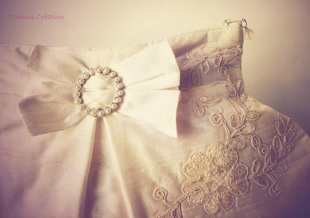 sac pochette mariage soie sauvage cru ivoire bijou accessoire 3c - Pochette Mariage Ecru