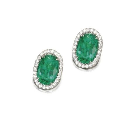 Pair_of_18_Karat_White_Gold__Emerald_and_Diamond_Earrings