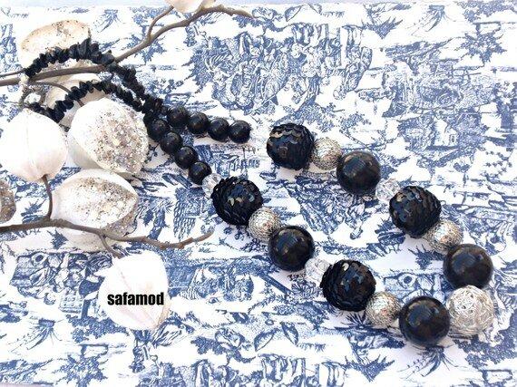 Collier soirée pierres semi précieuses perles paillettes