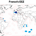 French Seas - map of the Exclusive Economic Zones of France