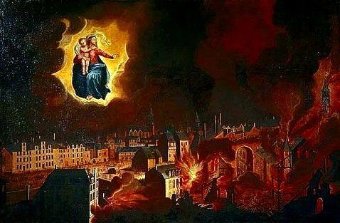 Rennes, Basilique Saint Sauveur, Tableau représentant la protection de Notre Dame de Bonne Nouvelle pendant le Grand Incendie