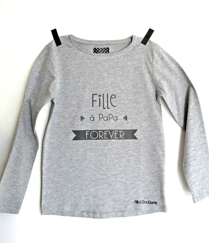 tshirt fille à papa forever