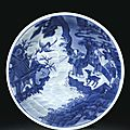 A blue and white 'Immortal' dish