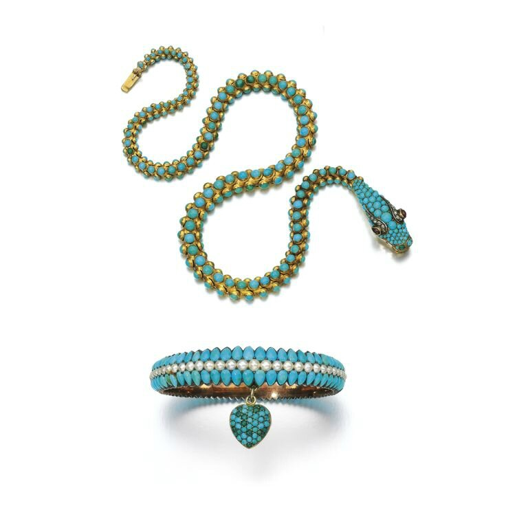 Gold, turquoise, garnet and diamond necklace and turquoise and seed pearl bangle, 1850s