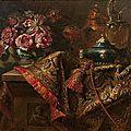Monogrammiste s. a. l. v (actif au xviième siècle) - nature morte au tapis, vase de fleurs, et faïence aux grotesques