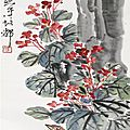 Qi baishi (1864-1957), lark among red blossoms