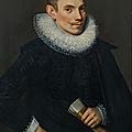 École flamande, 1623, portrait d'un homme âgé de 25 ans en habit noir avec fraise de dentelle