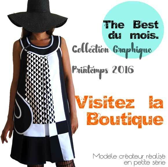 Robe-Vetements-Créateur-made-in-france-chic-mode-graphique-bicolore-noir-blanc-robe