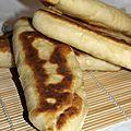 Naans au jambon et fromage