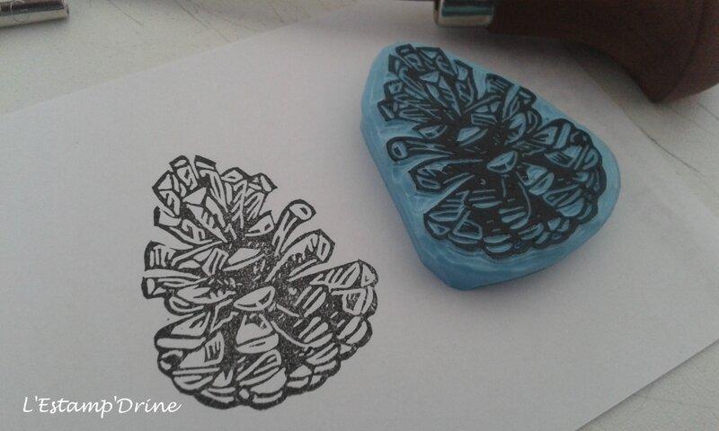 pomme de pin tampon automne gravure (5)