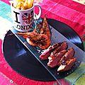 Magrets de canard marinés au miel et au soja, gambas et frites maison ! pour 6