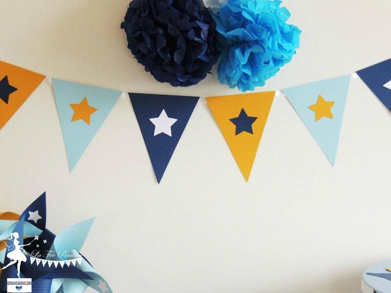 decoration bapteme mariage guirlande fanions jaune bleu pastel marine blanc theme etoile pompon - Copie