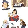 Colomb, galilée, copernic, darwin vieu, et darwin jeune.
