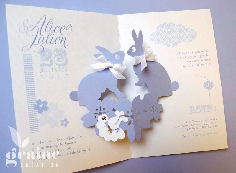 Faire-part Pop-up lapin (2)
