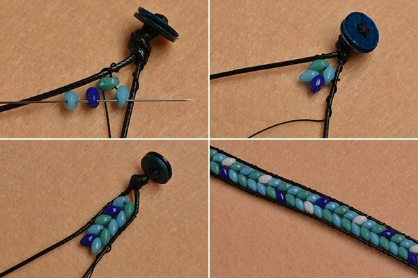 Pandahall Instruction on How to Make Leather Cord Wrap Bracelet with 2-hole Seed Beads (4)