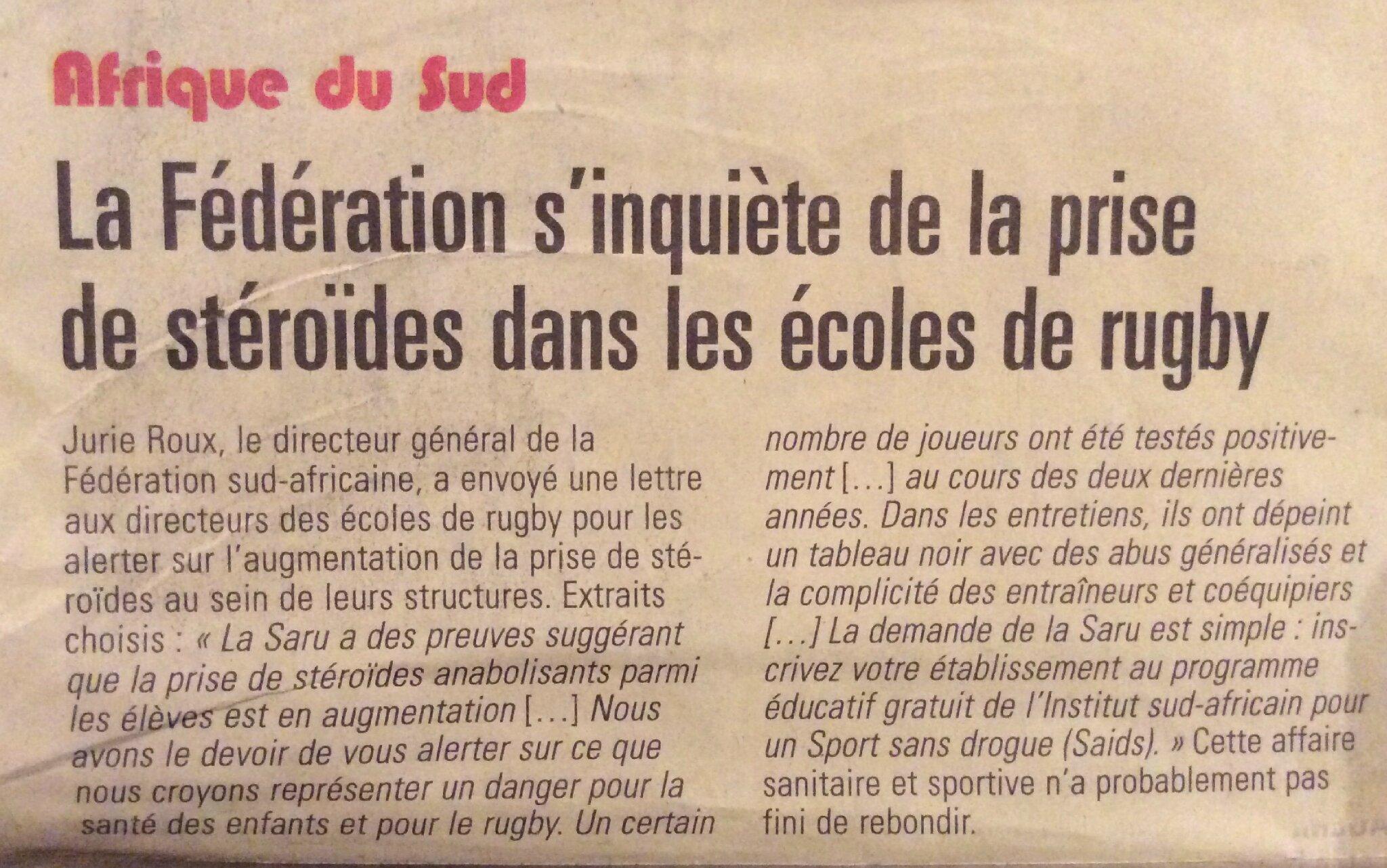 La Fédération s'inquiète de la prise de stéroïdes dans les écoles de rugby ...