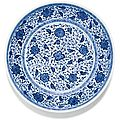 A blue and white floral dish. Qing dynasty, 18th century - Sothebys