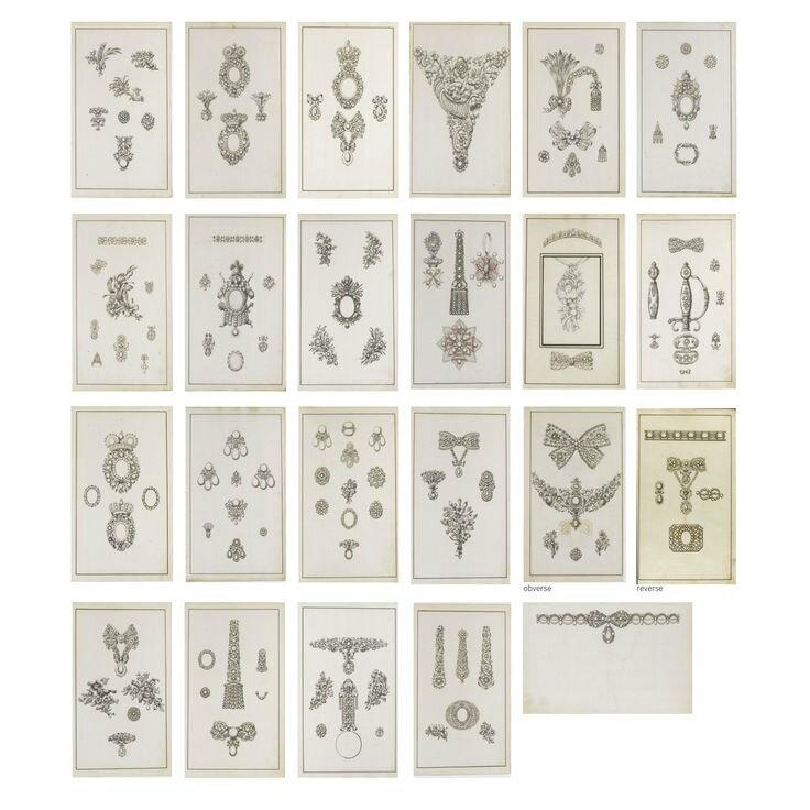 Collection of twenty three jewellery designs on twenty two sheets, second half of the 18th century