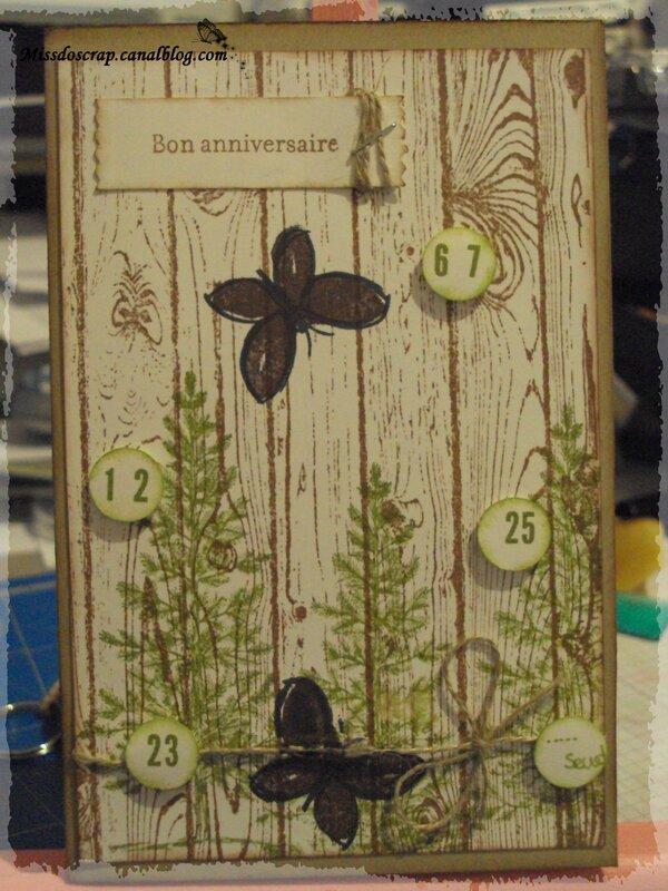 carte anniversaire bois sapin