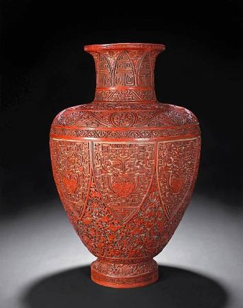 A_fine_red__black_and_yellow_carved_lacquer_baluster_vase1