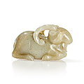 Carved jade figure of a ram, china, ming dynasty