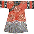An embroidered silk lady's informal court robe, qing dynasty, late 19th century
