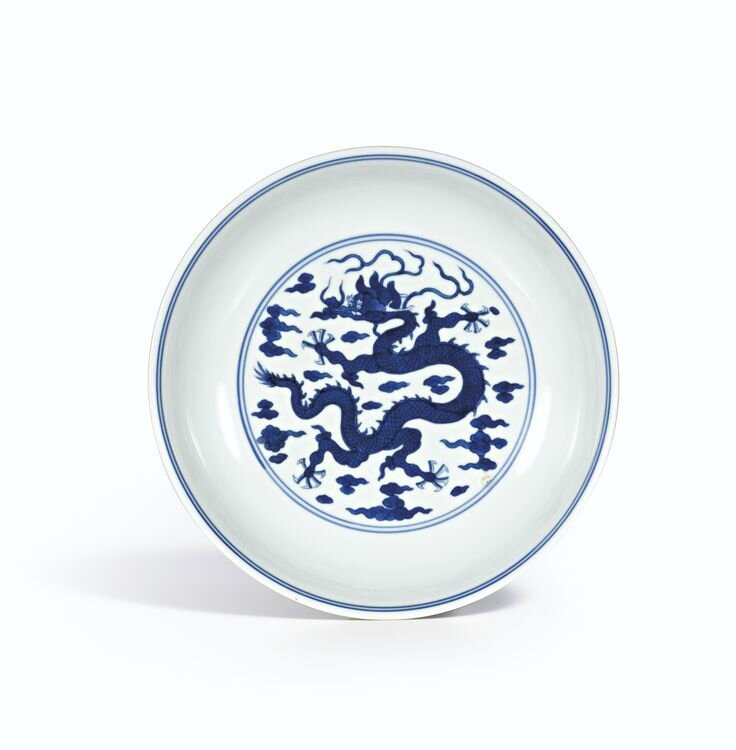 A blue and white 'dragon' dish, Zhiyuantang zhi mark, Qing dynasty, Qianlong period