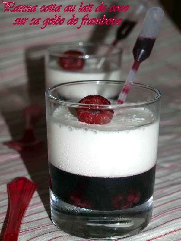 panna cotta au lait de coco sur sa gel e de framboise dans vos assiettes. Black Bedroom Furniture Sets. Home Design Ideas