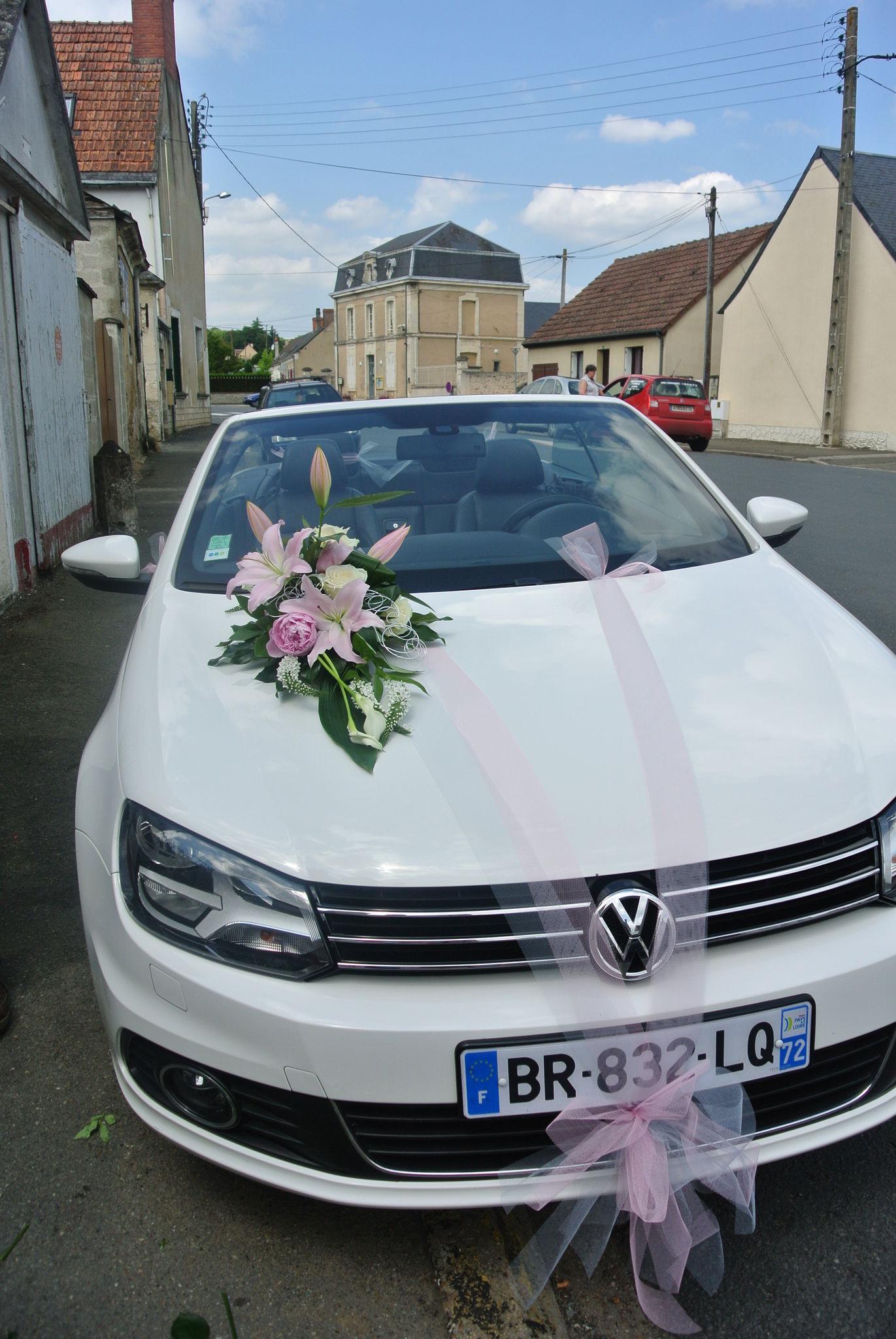Decoration tulle et ventouse gris rose et blanc photo de - Decoration voiture mariage sans fleur ...