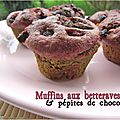 Muffins  la betterave, ppites de chocolat