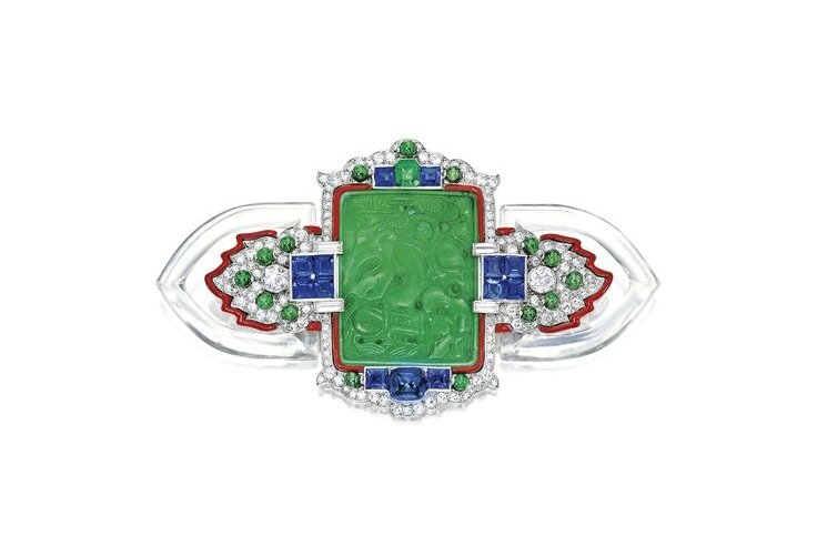 Important Art Deco Jadeite, Enamel, Gem-Set and Diamond Brooch, Cartier, Circa 1927