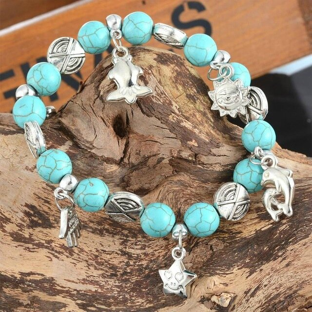 1PC-Turquoise-Key-Fish-Dolphin-Hand-Charm-Beads-String-Bracelet-Ethnic-Stretch-Bangle-Bracelet-For-Women