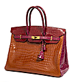 Herms Paris made in france. Sac Birkin 35 cm en crocodile porosus tricolore