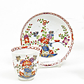 Small Cup and Saucer, Decor with Table Design. Meissen. Circa 1735