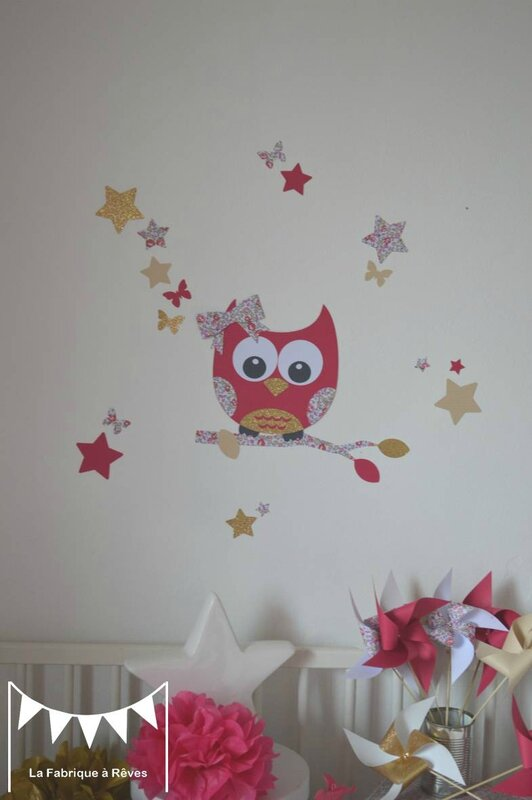 D coration chambre b b fille enfant liberty h loise fuchsia rose dor fanions stickers hibou for Decoration chambre bebe hibou