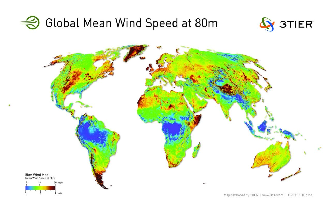 global mean wind speeds