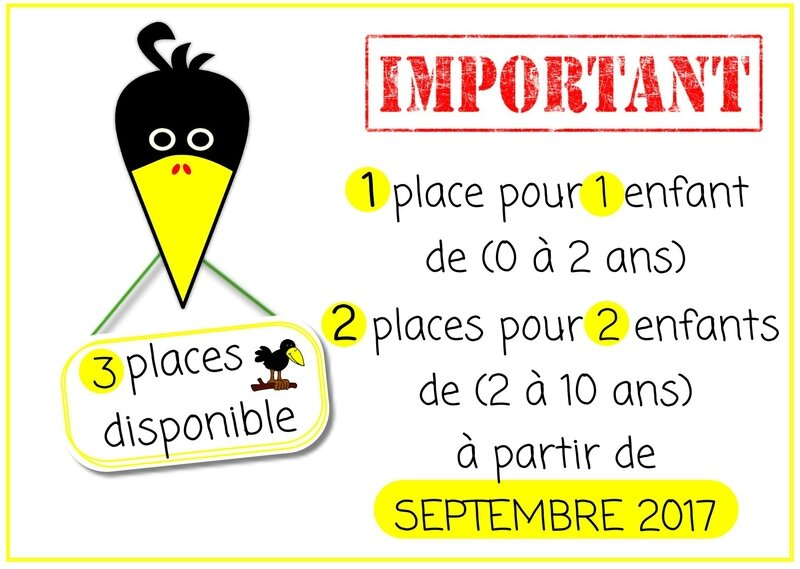 3 places dispo tête corneille important 3 places libre pancarte