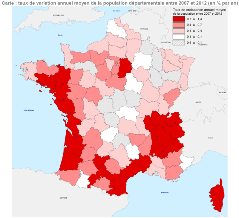taux de variation annuel moyen de la population départementale entre 2007 et 2012 (en % par an)