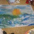 Essai de peinture sur tissu