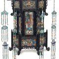 Deux lanternes hexagonales en bois exotique sculpté et ajouré. extrême-orient, fin xixe-début xxe.