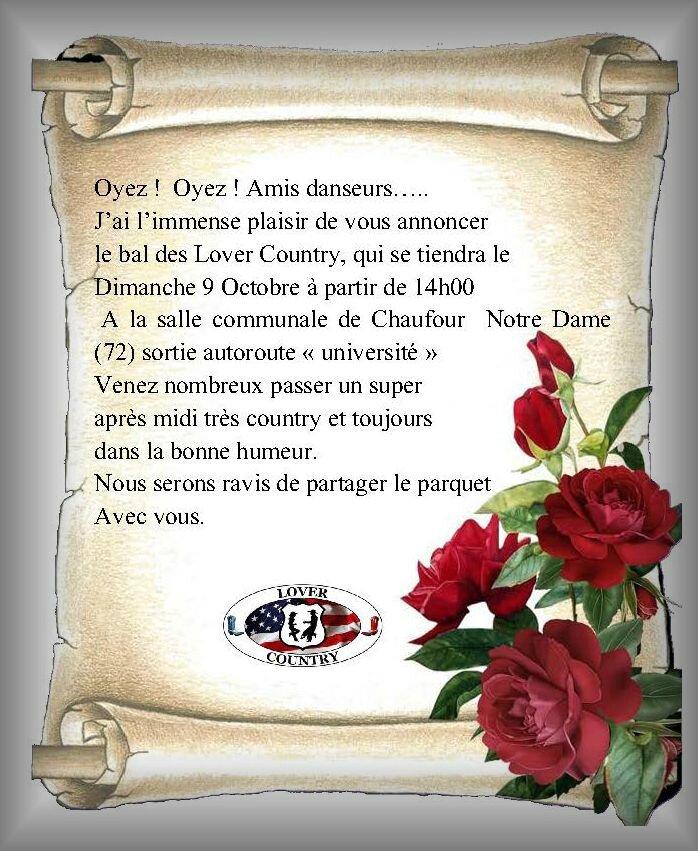 affiche Bal dimanche 9 oct à Chaufour Notre Dame départ 72