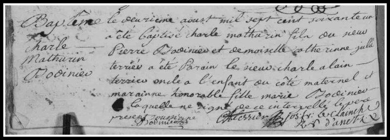Bodinier Charles-Mathurin acte naissance