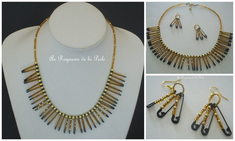 Montage collier marron et or