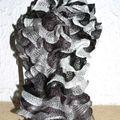 Tour de cou Froufrou, noir, blanc, gris
